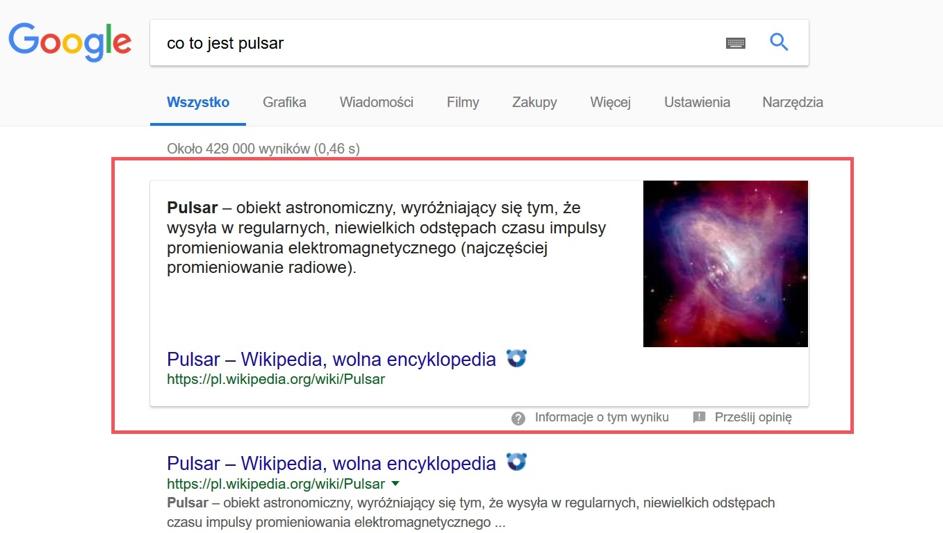 Featured snippets to polecane przezGoogle odpowiedzi wformie fragmentu zaczerpniętego zartykułu wybranej strony internetowej