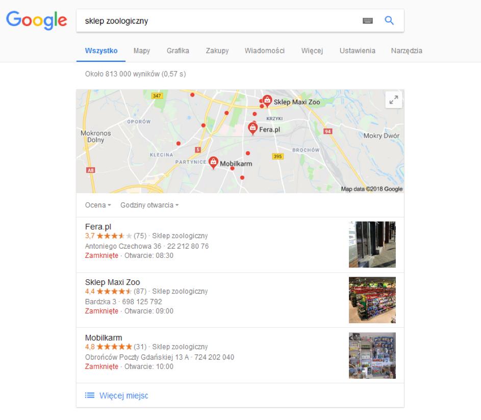 Geolokalizacja polega naustaleniu lokalizacji adresu IP danego użytkownika sieci, by zaprezentować mu wyniki wyszukiwania