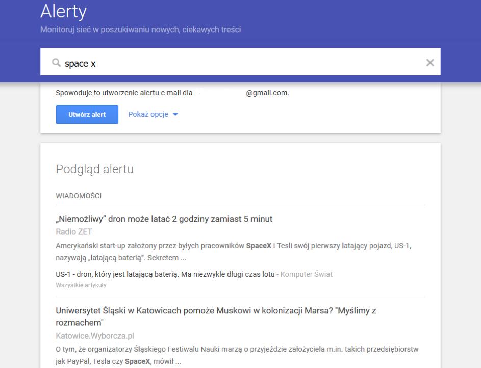 Google Alerts to usługa Google, umożliwiająca śledzenie danego tematu wsieci