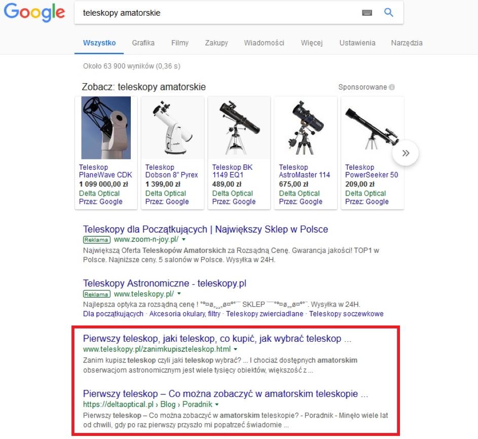 Organiczne wyniki wyszukiwania wGoogle
