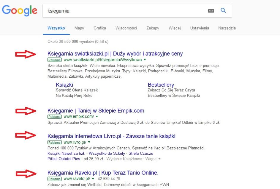 Płatne linki wwynikach wyszukiwania Google