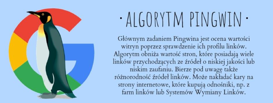 Pingwin może nałożyć nastrony oniskiej jakości profilu linków kary wpostaci filtrów algorytmicznych
