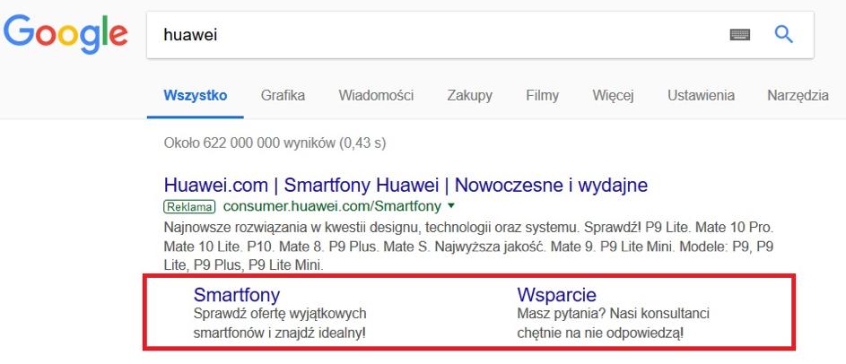 Sitelinks widoczne wpłatnych wynikach wyszukiwania Google