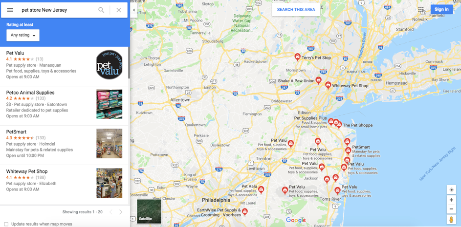visible in Google searches and on Google Maps